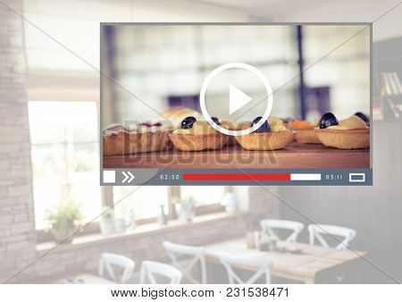 Digital composite of Cafe Baking cakes video player App Interface