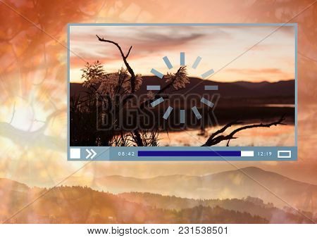 Digital composite of Video player App Interface with nature