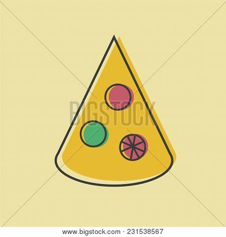 Pizza Slice Vector Illustration In Line Art Flat Style Design Funny Image For Menu Or Site Symbol