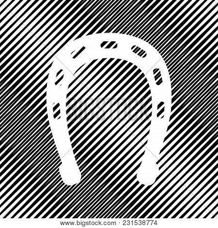 Horseshoe Sign Illustration. Vector. Icon. Hole In Moire Background.