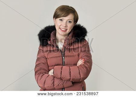 Young Attractive And Happy Red Hair Caucasian Woman On Her 20s Or 30s Posing Cheerful And Smiling We