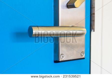 Close Up Of Metal Door Handle On The Door