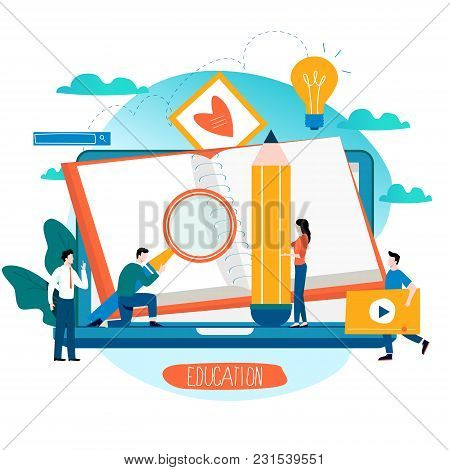 Education, Online Training Courses, Distance Education Flat Vector Illustration. Internet Studying,