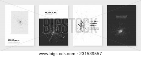 Minimal Brochure Templates. Molecule Models On White Background. Technology Sci-fi Or Medical Concep