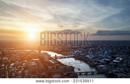 Aerial Landscape View Of London Cityscape Skyline With Iconic Landmark Buildings In The City With Dr