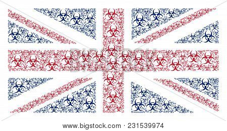 Great Britain Flag Mosaic Created Of Biohazard Icons. Vector Biohazard Elements Are Combined Into Co