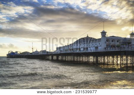 Beautiful Winter Sunset Landscape Of Brighton Pier On The South Coast Of England