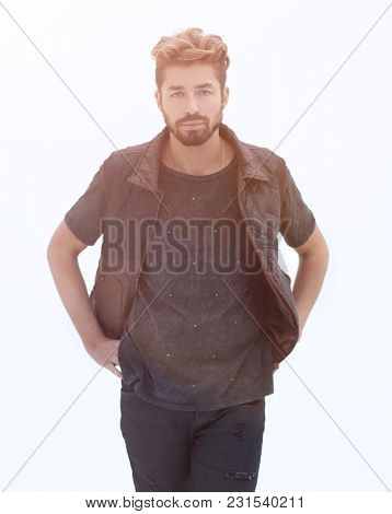 Men's casual outfits standing on a gray grunge background