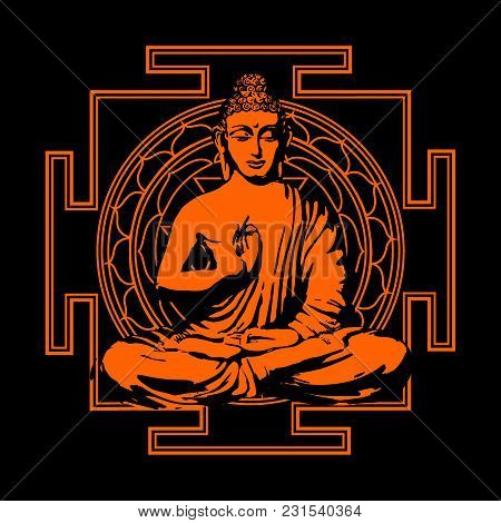 The Buddha Sits In A Lotus Pose Against The Background Of Yantra - A Sacred, Auspicious Magic Symbol