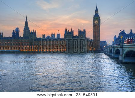 London Attractions Big Ben And Westminster Bridge Landscape During A Winter Sunset