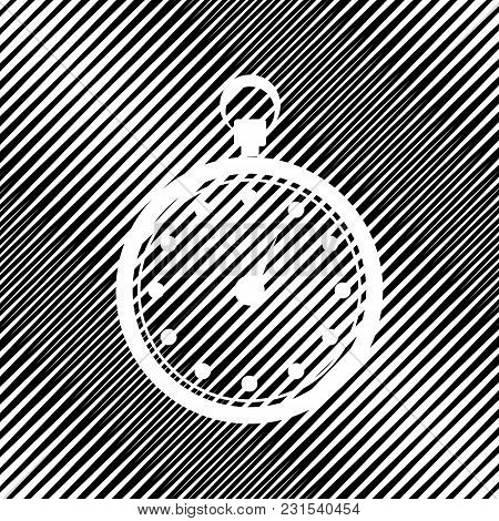 Stopwatch Sign Illustration. Vector. Icon. Hole In Moire Background.