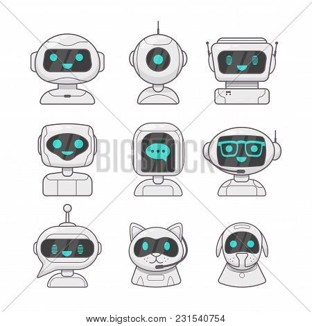 Smiling Robot, Chat Bot Characters. Vector Futuristic Robot Character Icon. Isolated On White Backgr