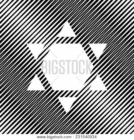 Shield Magen David Star Inverse. Symbol Of Israel Inverted. Vector. Icon. Hole In Moire Background.