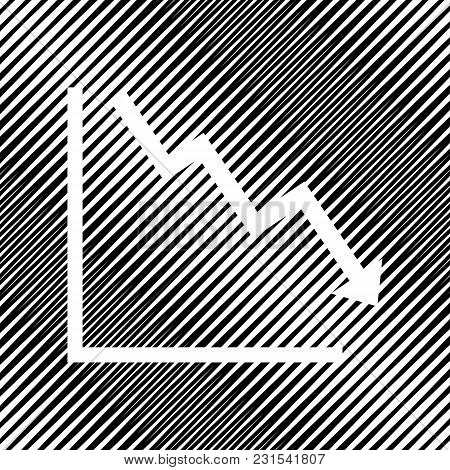 Arrow Pointing Downwards Showing Crisis. Vector. Icon. Hole In Moire Background.