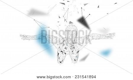 Conceptual Abstract Man. Connected Lines, Dots, Triangles, Particles On White Background. Artificial