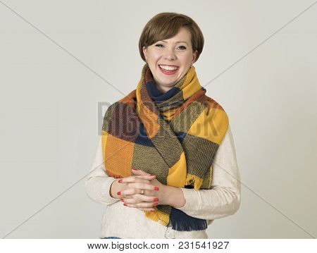 Young Beautiful And Stylish 30s Red Hair Woman Sweater And Autumn Colorful Scarf Smiling Happy Posin