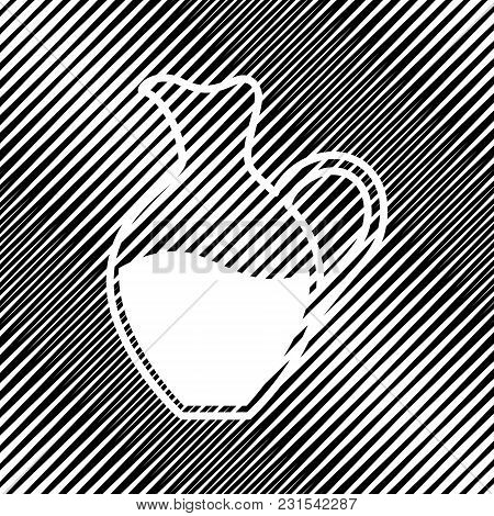 Amphora Sign. Vector. Icon. Hole In Moire Background.