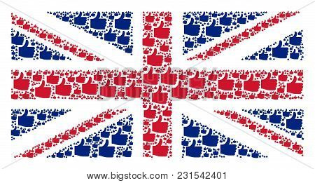 United Kingdom Flag Composition Designed Of Thumb Up Pictograms. Vector Thumb Up Elements Are Organi
