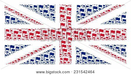 English Flag Collage Done Of Waving Flag Icons. Vector Waving Flag Design Elements Are Combined Into