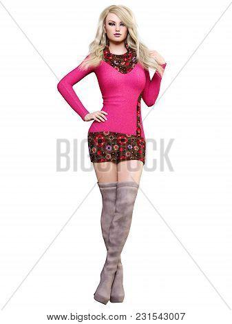3d Beautiful Blonde Short Dress And Long Boots.spring-autumn Collection.bright Makeup.woman Studio P