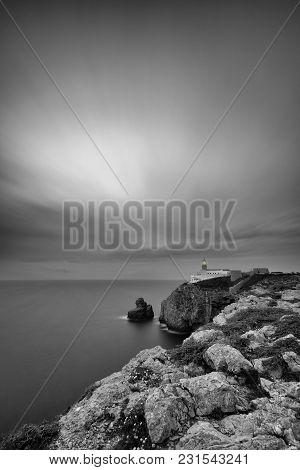 Black And White Image Of Lighthouse At Cape St. Vincent. Sagres, Algarve, Portugal.