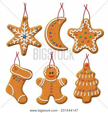 Vector Gingerbread Set. Christmas Cookies Decoration On A White Background