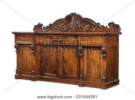 Old English Mahogany Antique Dining Dresser Sideboard Serving Base With Fine Carving Isolated With C
