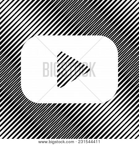 Play Button Sign. Vector. Icon. Hole In Moire Background.