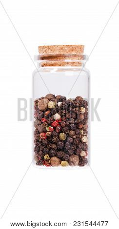 Mix Of Dried Pepper In A Glass Bottle With Cork Stopper, Isolated On White.