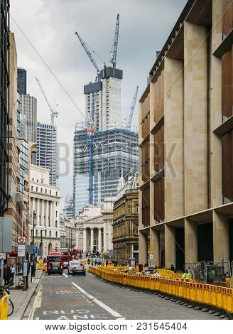 London, Uk- Mar 13, 2018: Queen Victoria Street In The City Of London, England, Uk With Royal Exchan