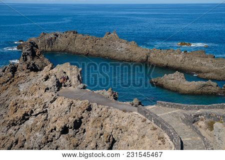 Natural Ocean Swimming Pools On Tenerife Island. Outdoor Shot In Spain. Copy Space.