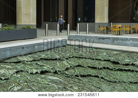 London, Uk- Mar 13, 2018: Cristina Iglesias Water Feature, Entitled Tres Aguas, Meaning Three Waters