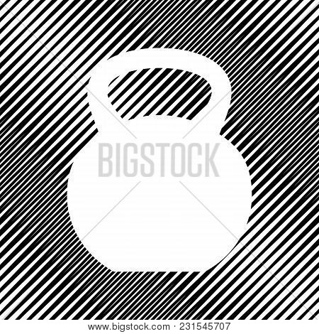 Fitness Dumbbell Sign. Vector. Icon. Hole In Moire Background.