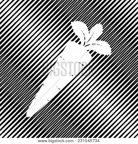 Carrot Sign Illustration. Vector. Icon. Hole In Moire Background.