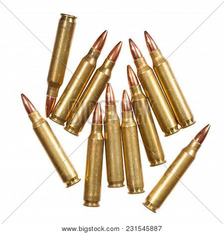 5.56x45mm Nato Intermediate Cartridges Isolated On White. High Resolution Photo.