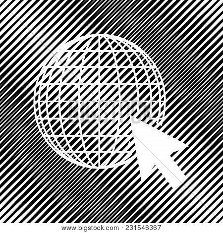 Earth Globe With Cursor. Vector. Icon. Hole In Moire Background.