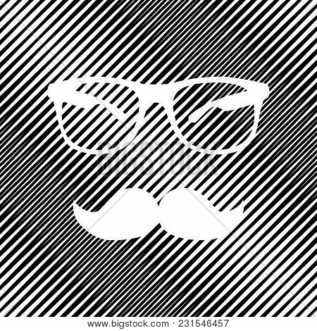 Mustache And Glasses Sign. Vector. Icon. Hole In Moire Background.