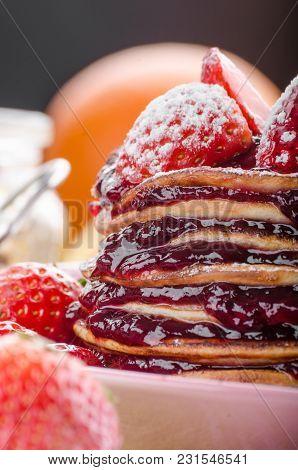 Pancakes Strawberry, Sugar And Jam