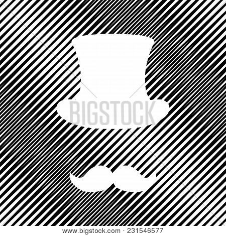 Hipster Accessories Design. Vector. Icon. Hole In Moire Background.