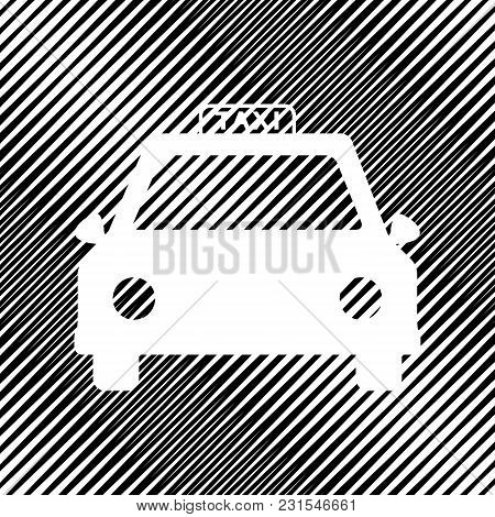 Taxi Sign Illustration. Vector. Icon. Hole In Moire Background.