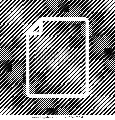 Vertical Document Sign Illustration. Vector. Icon. Hole In Moire Background.