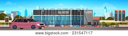 Car Dealer Center Showroom With New Vechicle Horizontal Banner Flat Vector Illustration