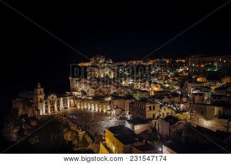 2016 April 29 Panoramic View Of The Medieval Ancient Town Of Matera  (sassi Di Matera)  At Night. Ba