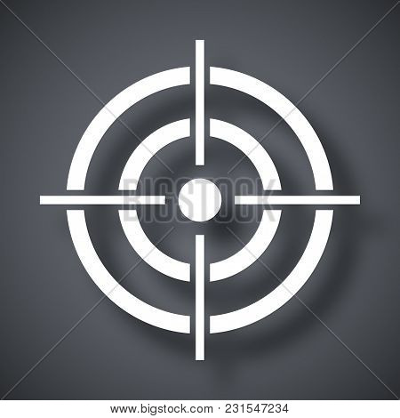 Vector Target Icon On Dark Gray Background With Shadow