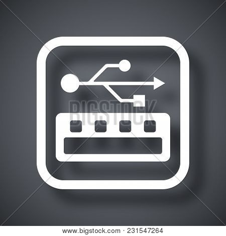 Vector Usb Socket Icon On Dark Gray Background With Shadow