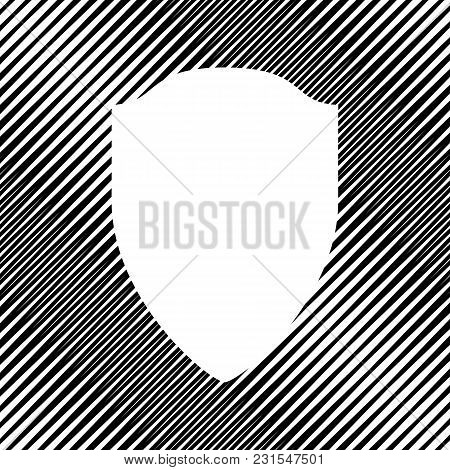 Shield Sign Illustration. Vector. Icon. Hole In Moire Background.