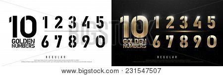 Technology Alphabet Golden Numbers Metallic And Effect Designs For Logo, Poster. Exclusive Gold Numb