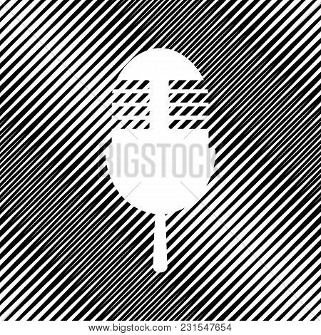 Retro Microphone Sign. Vector. Icon. Hole In Moire Background.