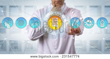 Unrecognizable Male Pharmaceutical Research Scientist Receiving Drug Approval. Pharma Concept For Ev