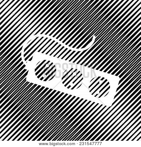 Electric Extension Plug Sign. Vector. Icon. Hole In Moire Background.